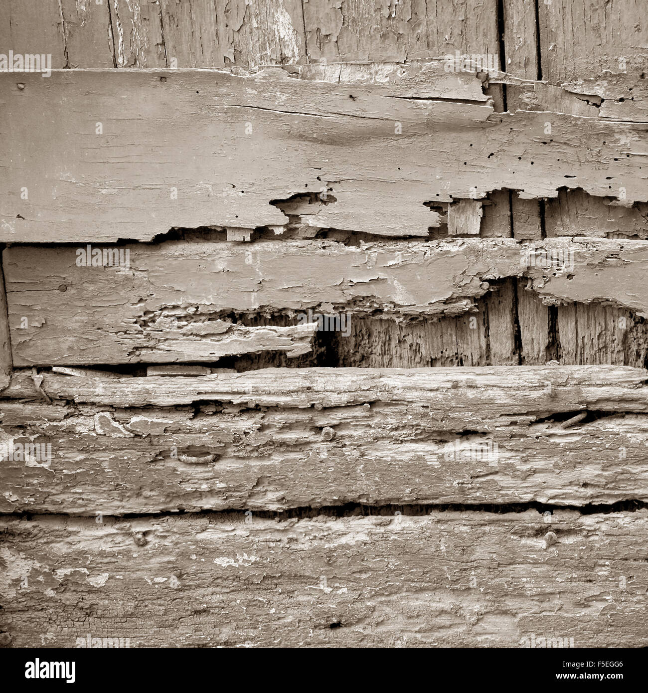 old wooden broken plank weathered - Stock Image