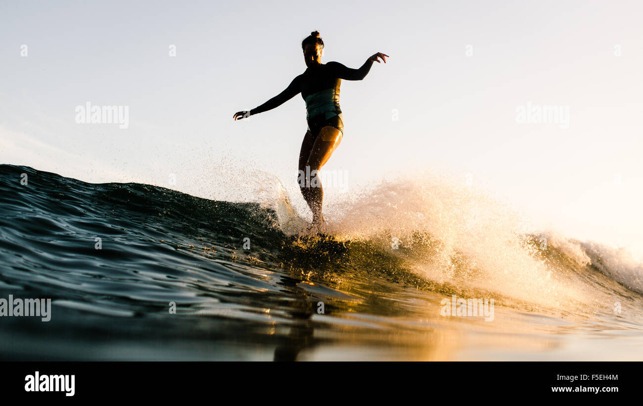 Women standing on surfboard, Malibu, California, USA - Stock Image