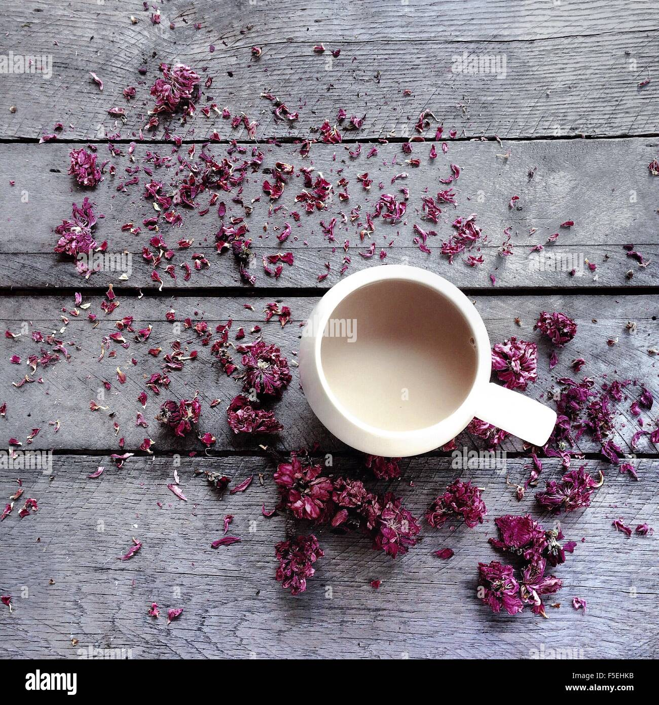 Mug of tea surrounded by dried flower blossoms - Stock Image