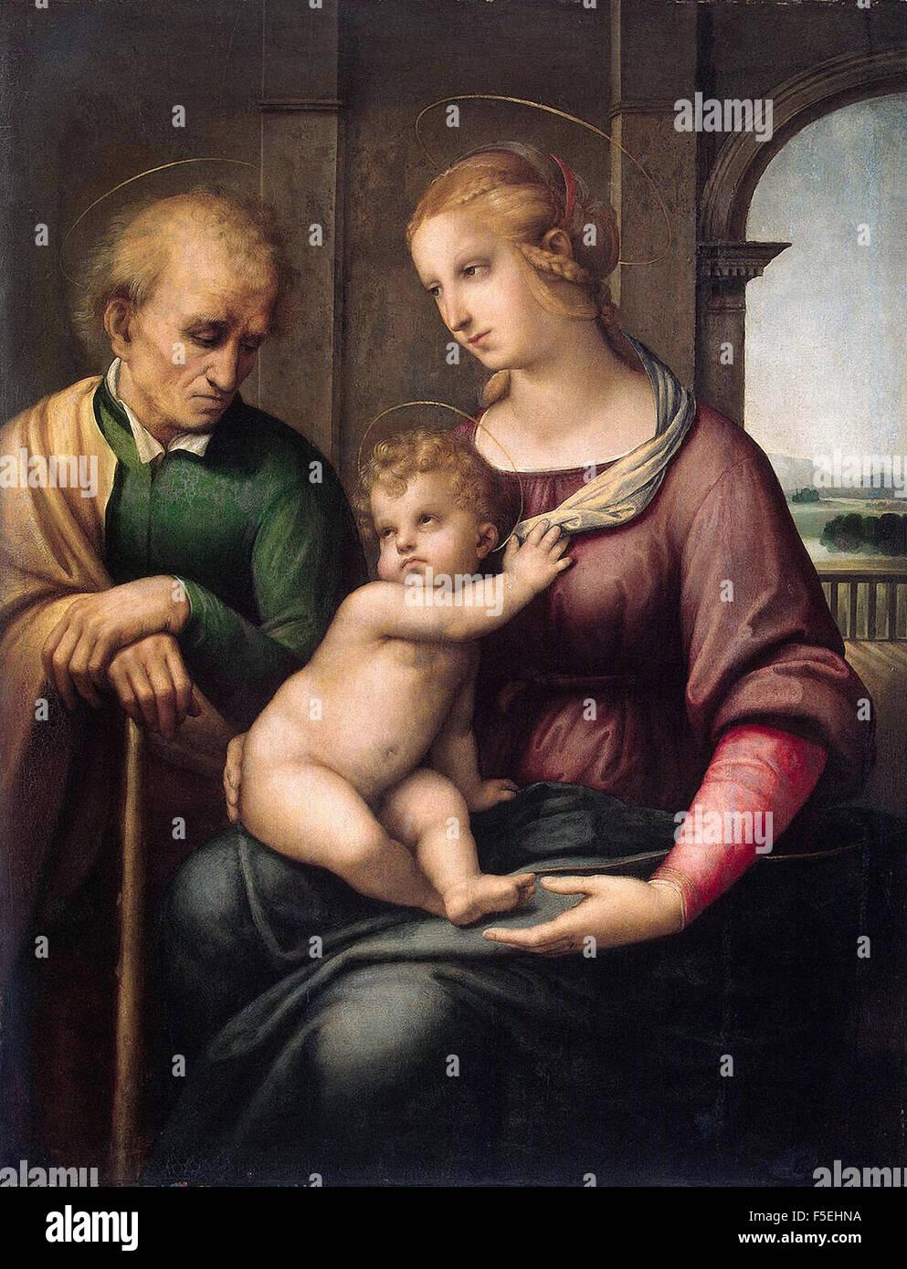 Raffaello Sanzio - Raffaello - Holy Family (Madonna with Beardless Joseph) Stock Photo