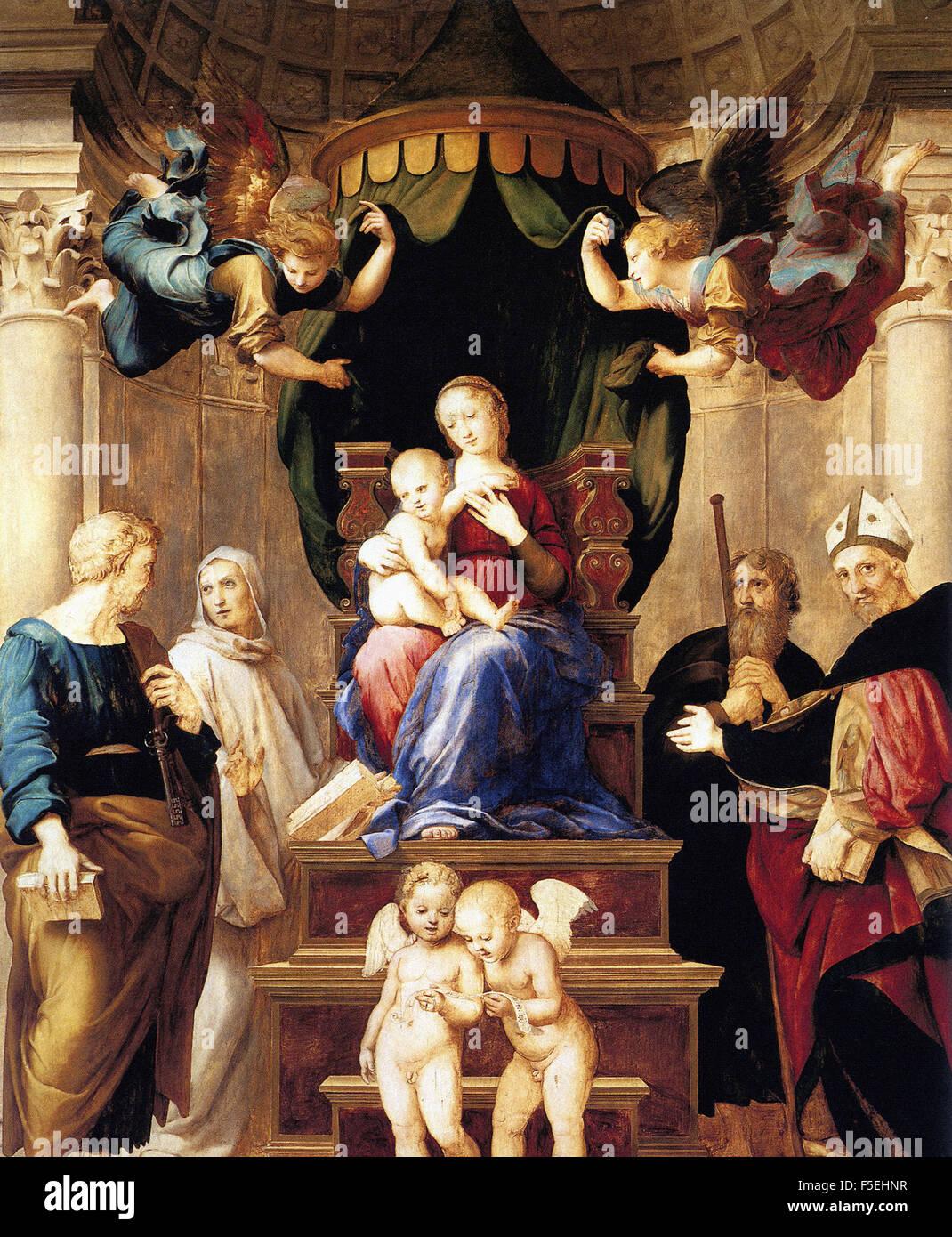 Raffaello Sanzio - Raffaello - Madonna del Baldacchino Stock Photo
