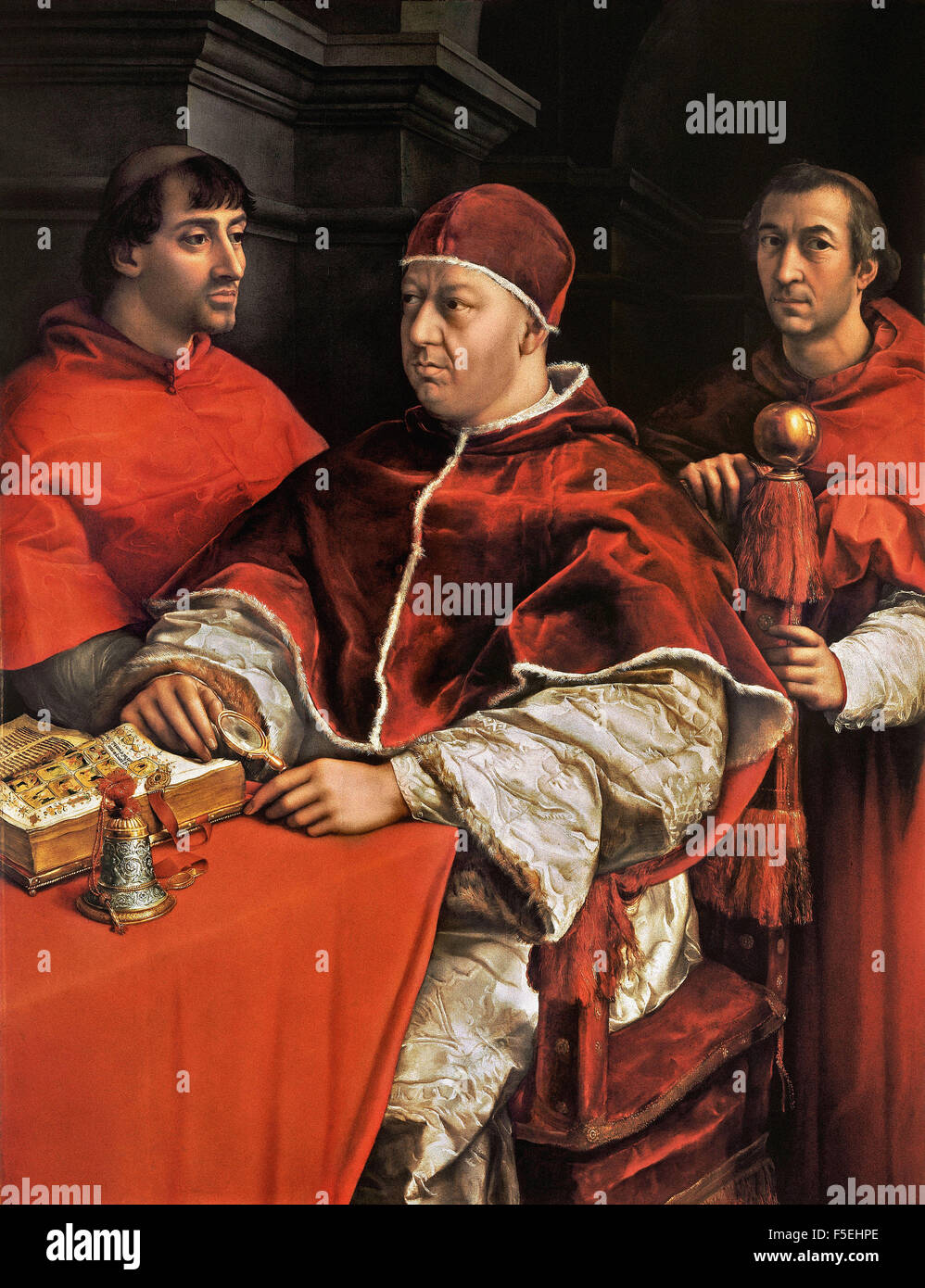 Raffaello Sanzio - Raffaello - Pope Leo X with Cardinals Giulio de' Medici and Luigi de' Rossi Stock Photo