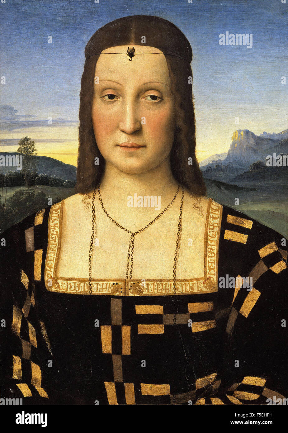 Raffaello Sanzio - Raffaello - Portrait of Elisabetta Gonzaga 1367 Stock Photo