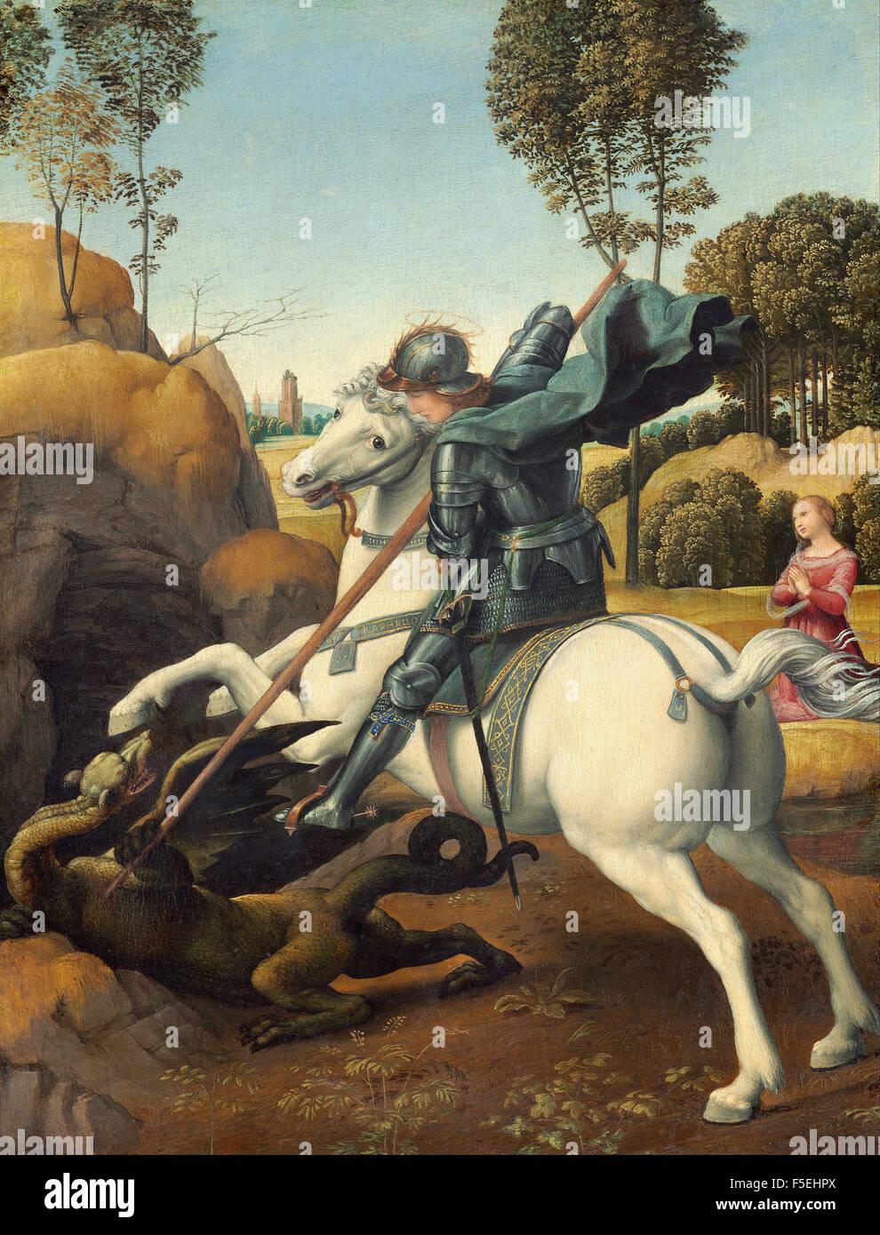 Raffaello Sanzio - Raffaello - Saint George and the Dragon 1131 Stock Photo