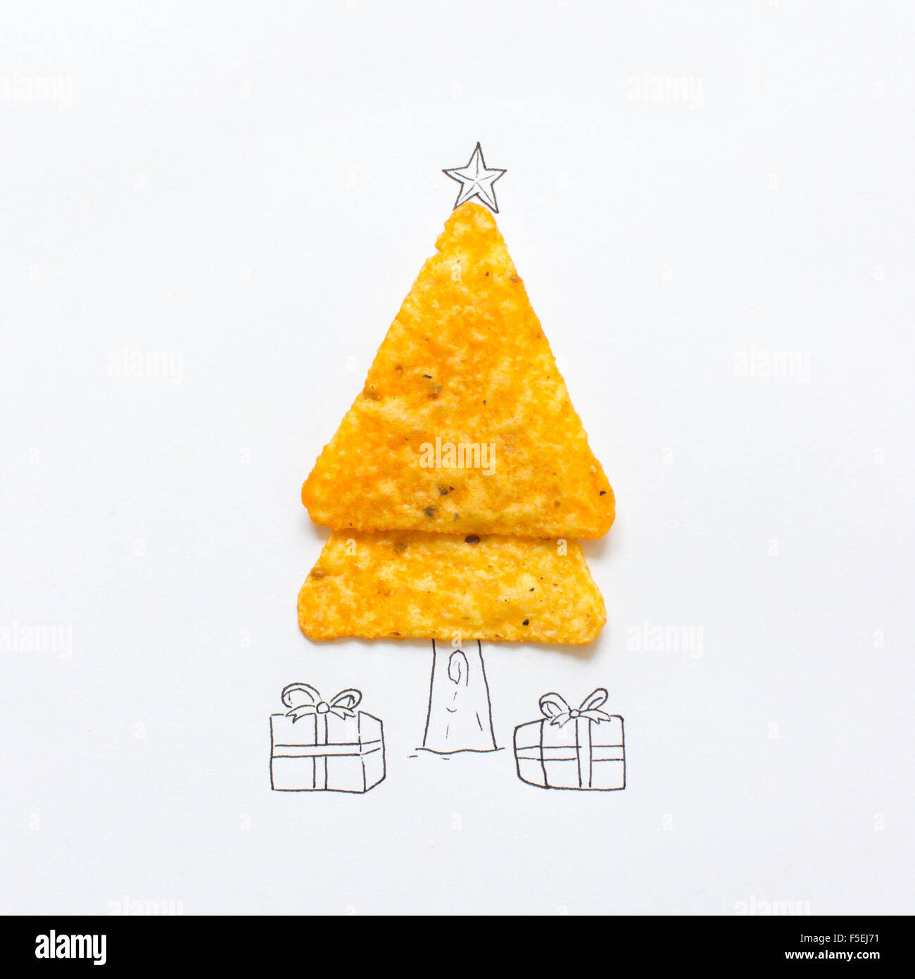 Conceptual drawing of a Christmas tree - Stock Image