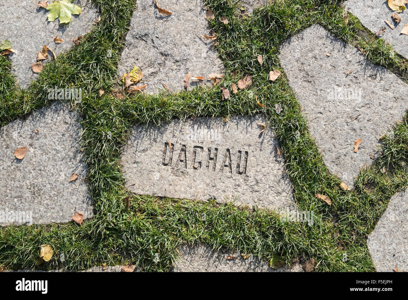 Stone with Dachau name at Memorial to Murdered Sinti and Roma People, Mitte, Berlin, Germany Stock Photo