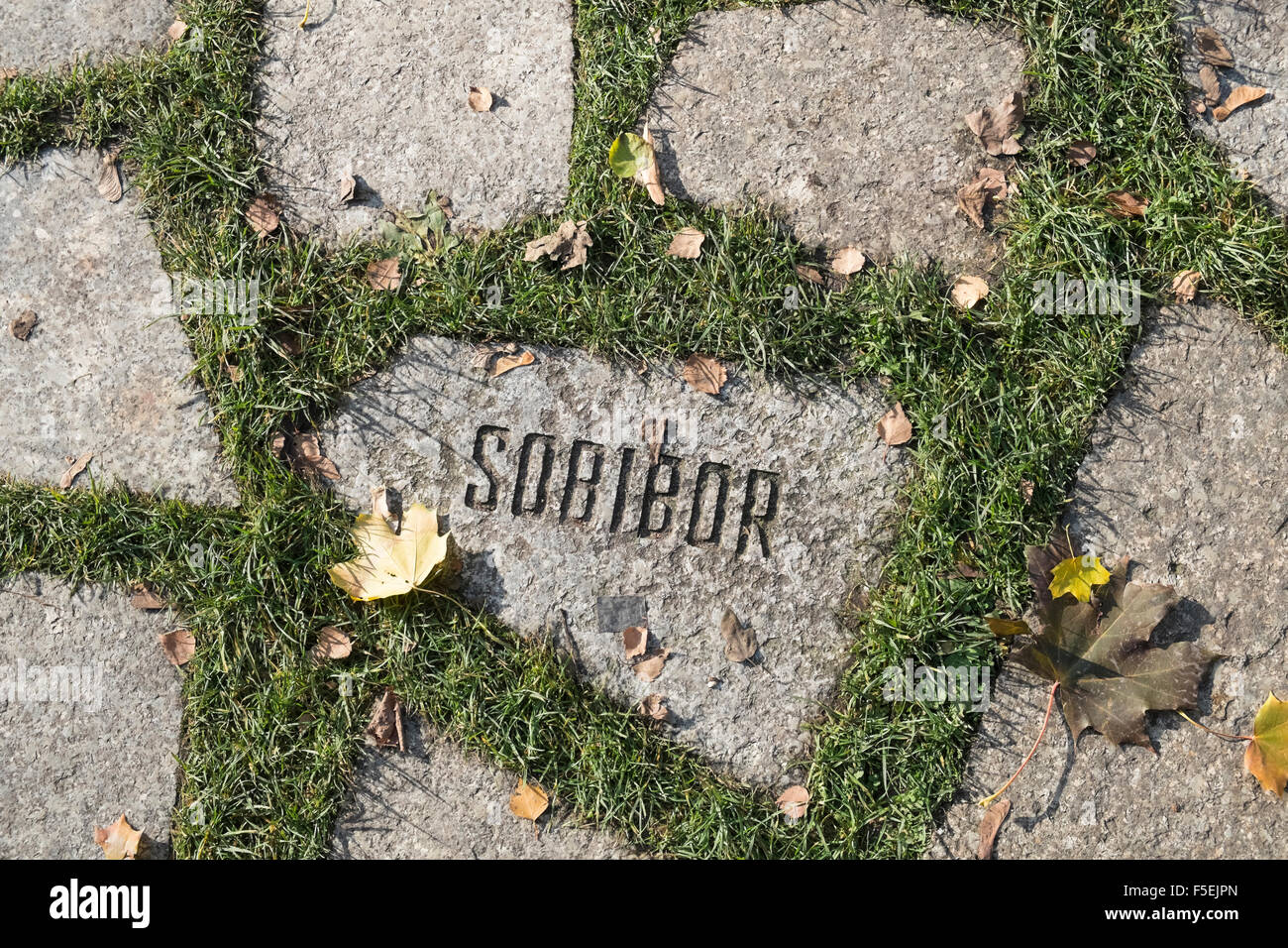 Stone with Sobibor name at Memorial to Murdered Sinti and Roma People, Mitte, Berlin, Germany Stock Photo