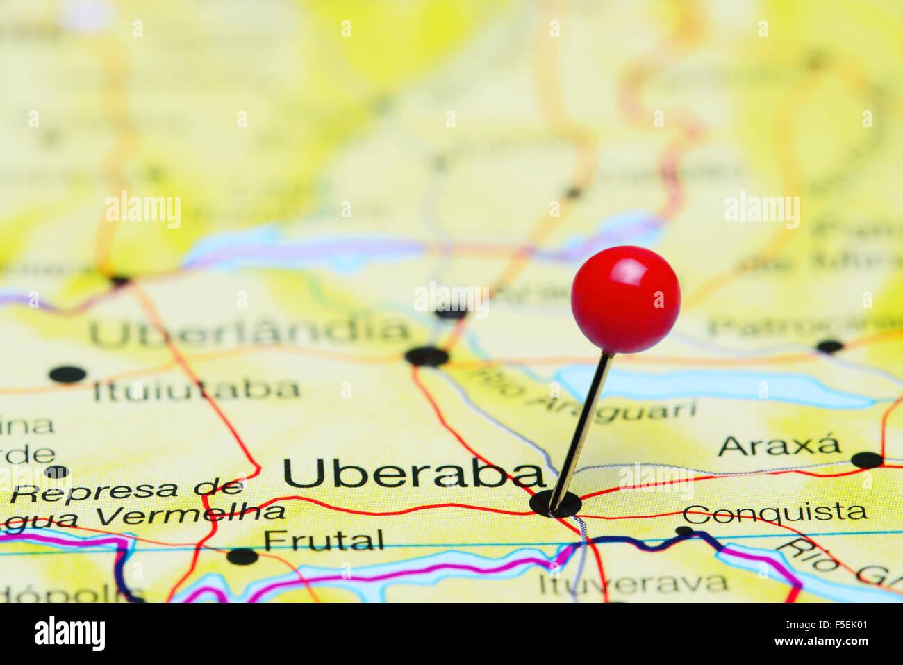 Uberaba pinned on a map of Brazil Stock Photo