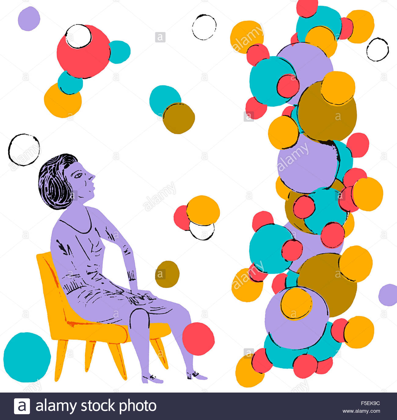 Scientist looking up at molecular structure - Stock Image