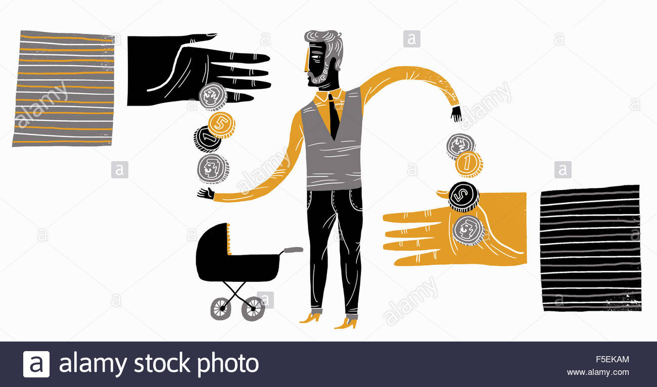 Father with pram receiving money with one hand and giving money away with the other - Stock Image