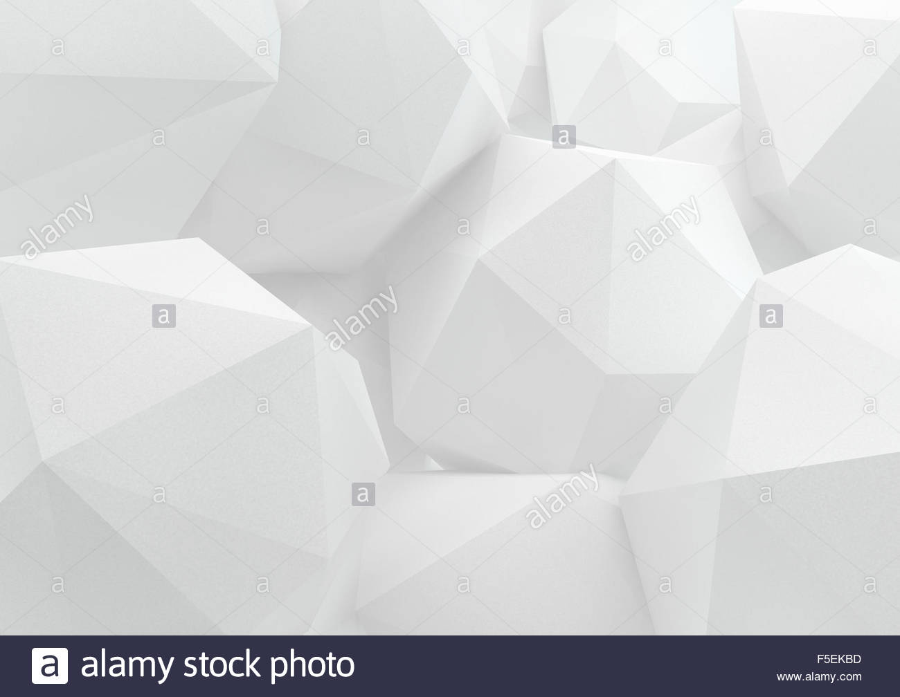 Close up of three dimensional white abstract polyhedrons - Stock Image