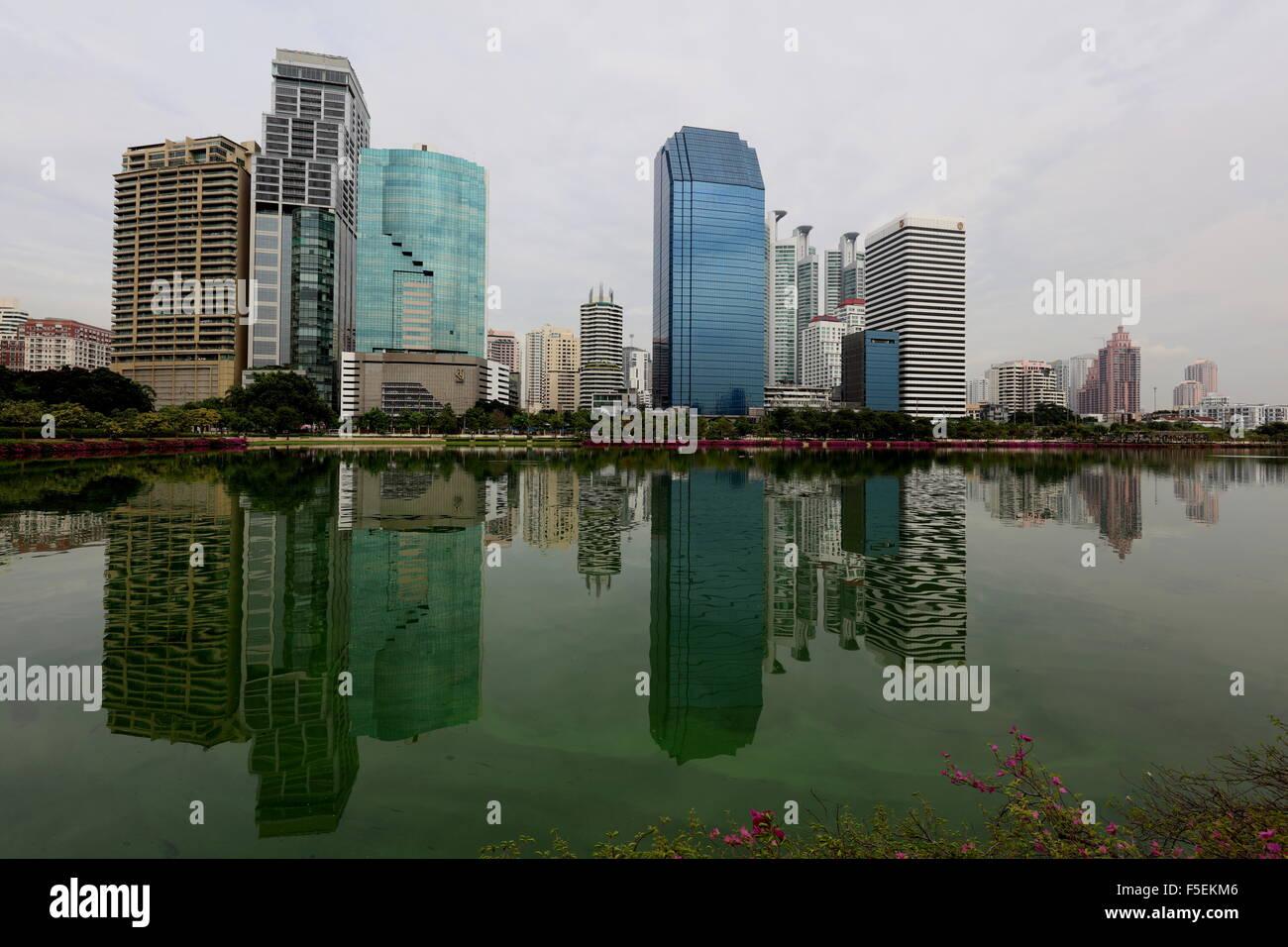 Bangkok Skyline from Benjakitti Park - Stock Image