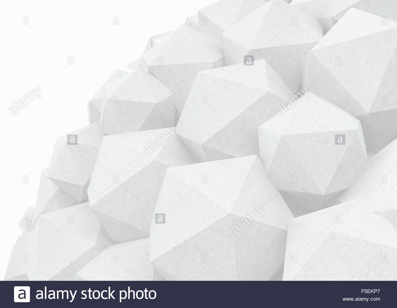 Heap of gray three dimensional polyhedrons - Stock Image