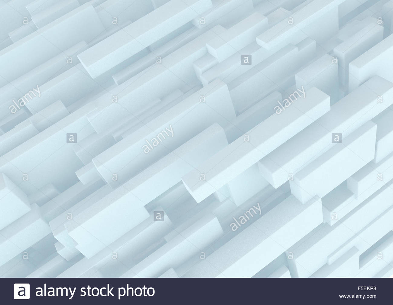 Abstract three dimensional structure of white cuboids - Stock Image