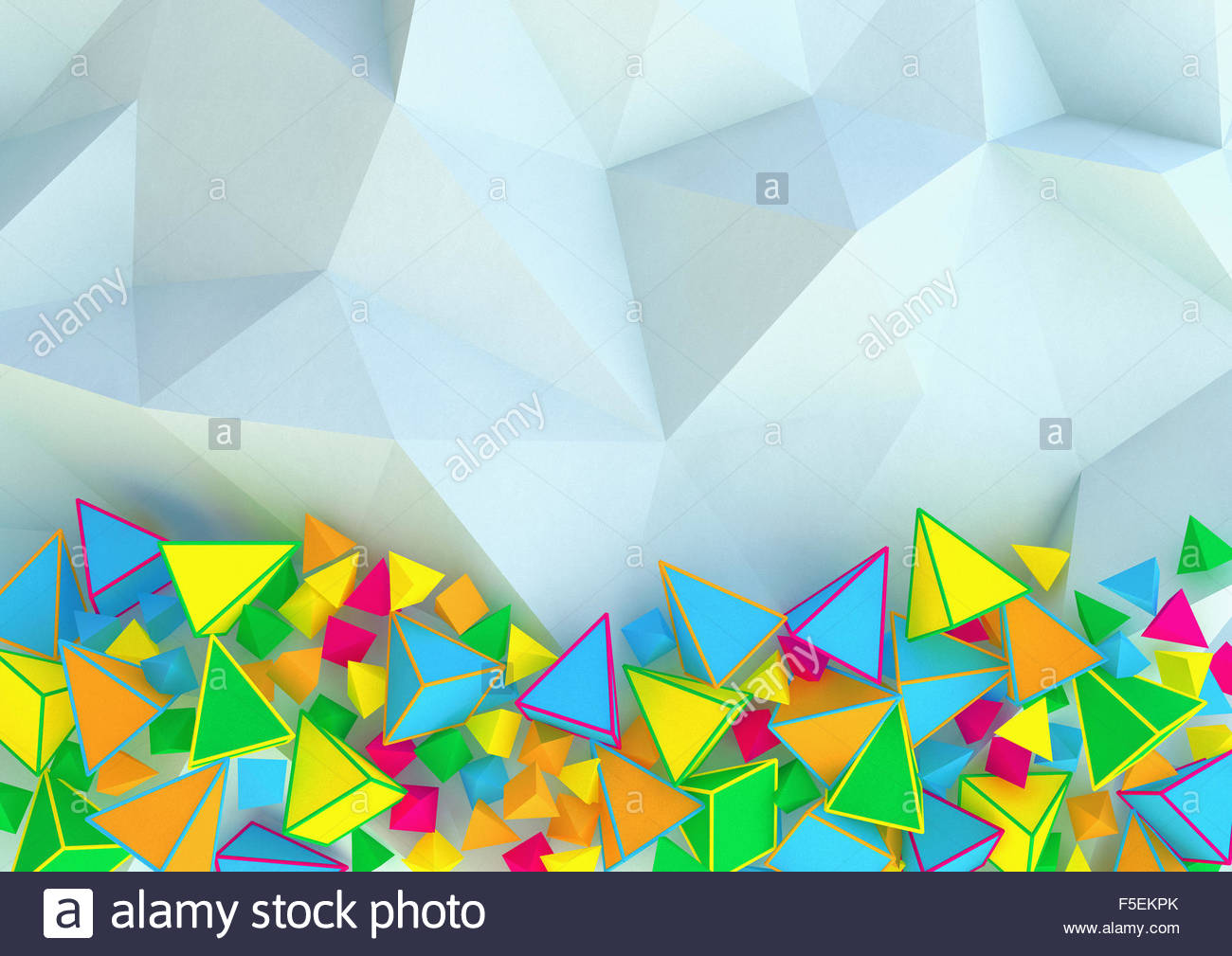 Abstract three dimensional pattern of contrasting pyramid shapes - Stock Image