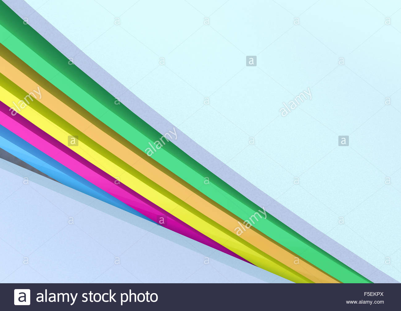 Abstract pattern of three dimensional rainbow stripes - Stock Image