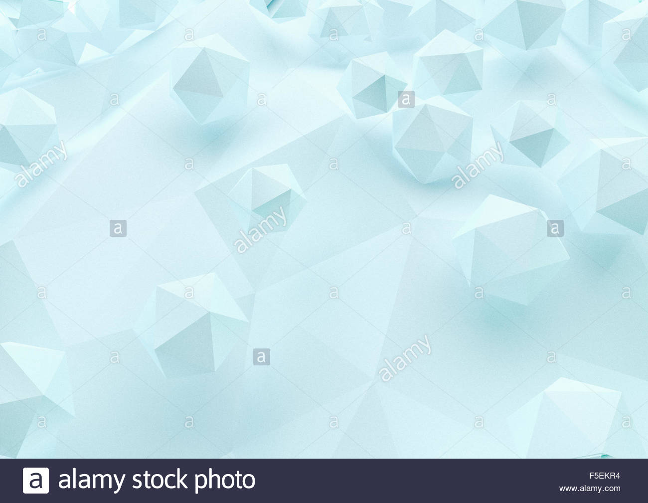 Abstract three dimensional geometric shapes on low poly surface - Stock Image
