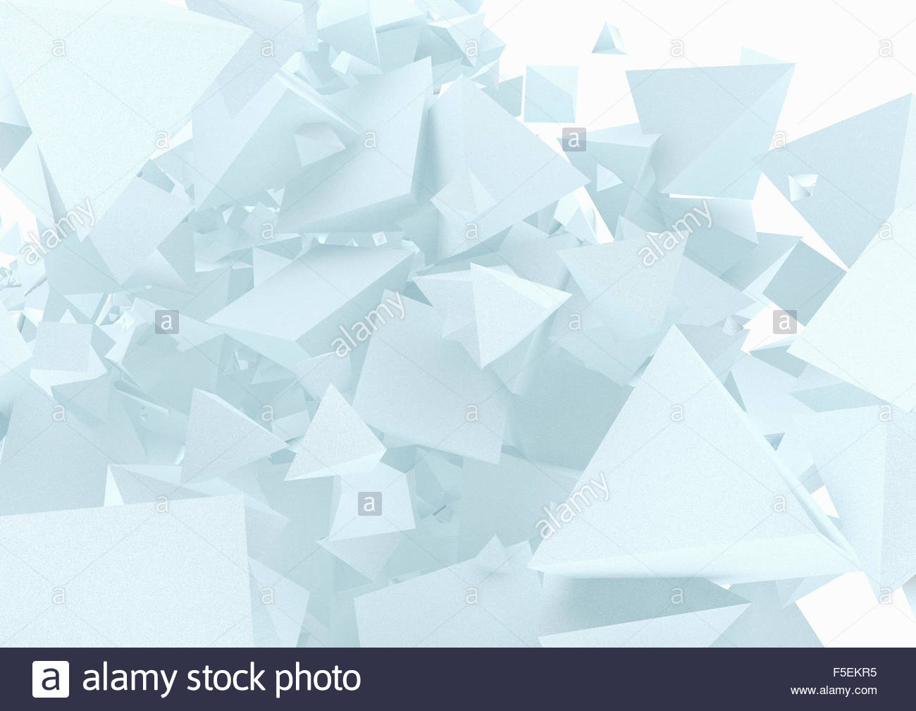 Abstract chaotic pile of three dimensional pyramid shapes - Stock Image