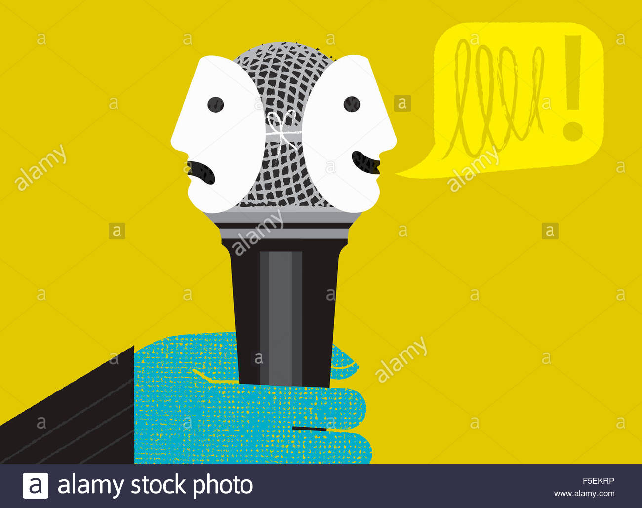Hand holding microphone with happy and sad face masks Stock Photo