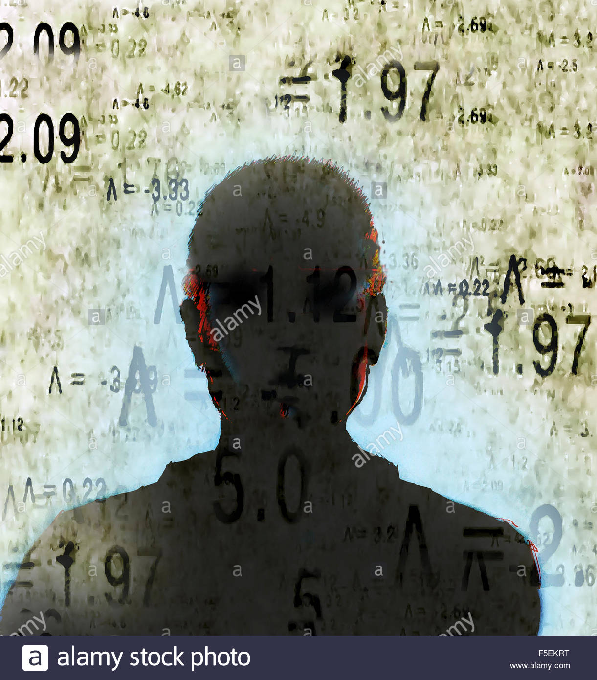 Silhouette of man's head surrounded by mathematical symbols and numbers - Stock Image