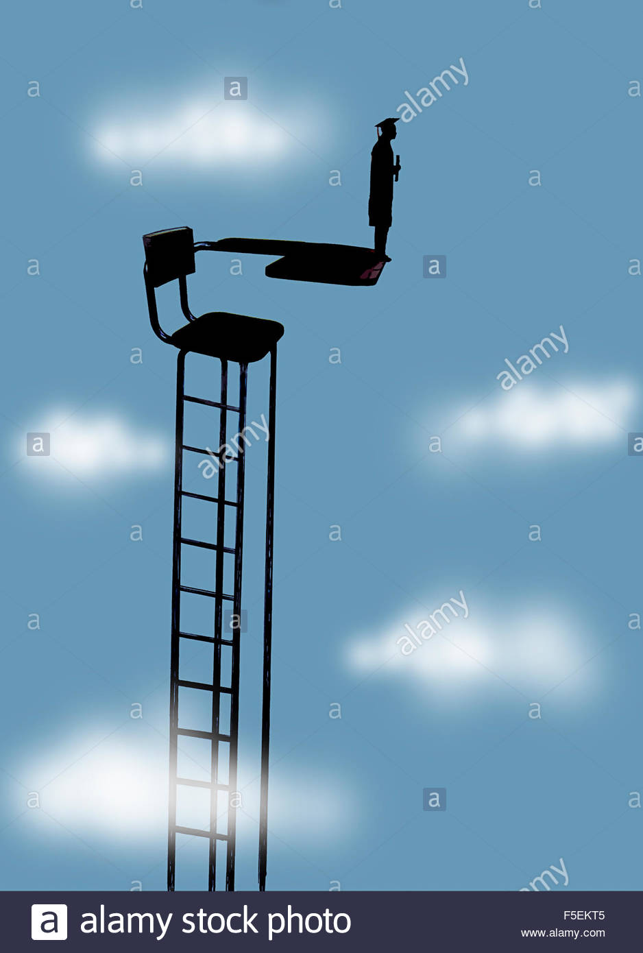 Graduate holding degree on top of desk chair diving board - Stock Image