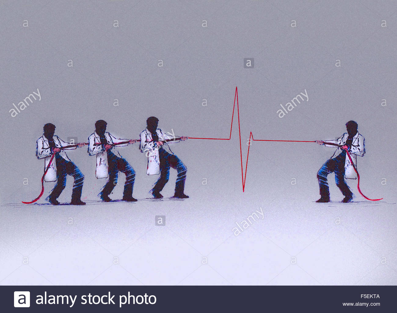 Doctors in unequal tug of war with pulse trace rope - Stock Image