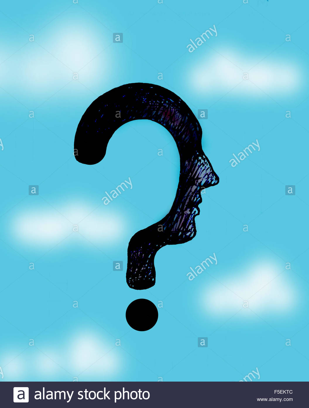 Man's profile as question mark - Stock Image