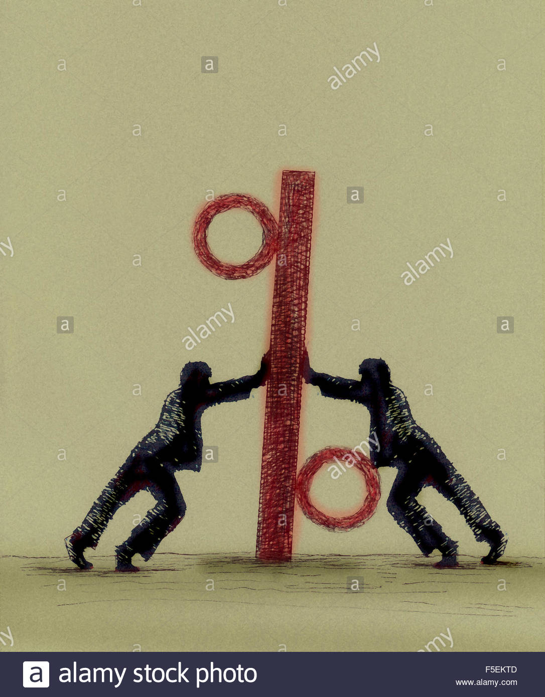 Businessmen pushing large percentage sign in opposite directions - Stock Image