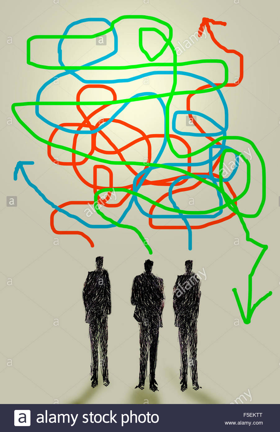 Three businessmen talking with confused tangled arrows - Stock Image