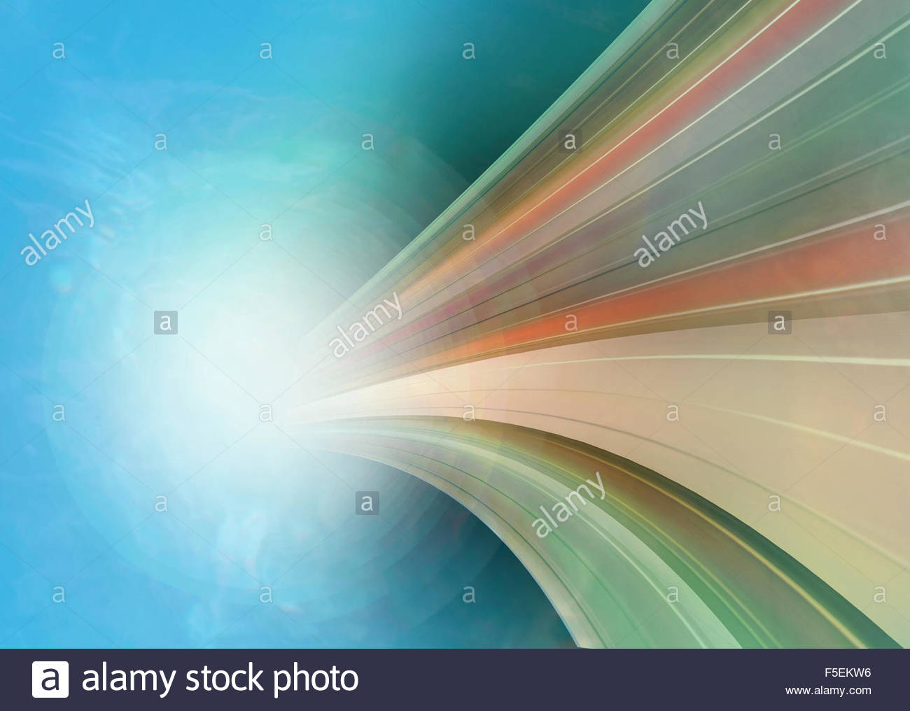 Abstract curved stripe pattern emerging from glowing light - Stock Image