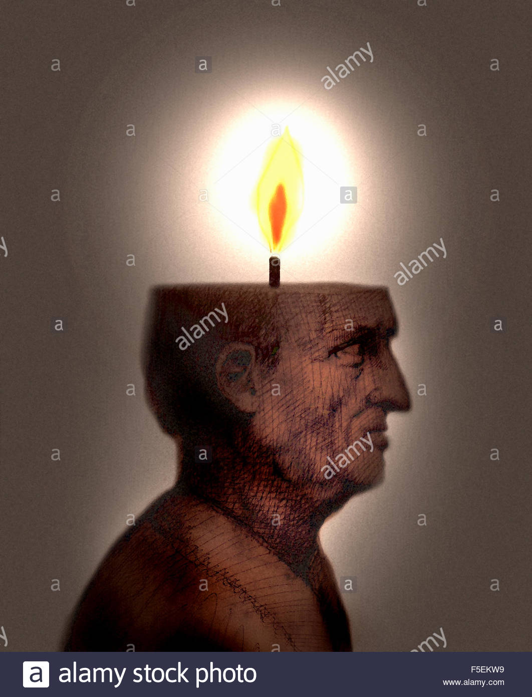Elderly man with lit candle burning inside of head - Stock Image