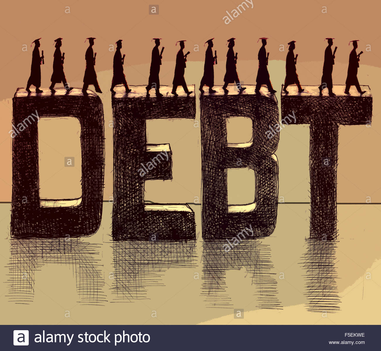 Graduate students walking across the word 'debt' Stock Photo