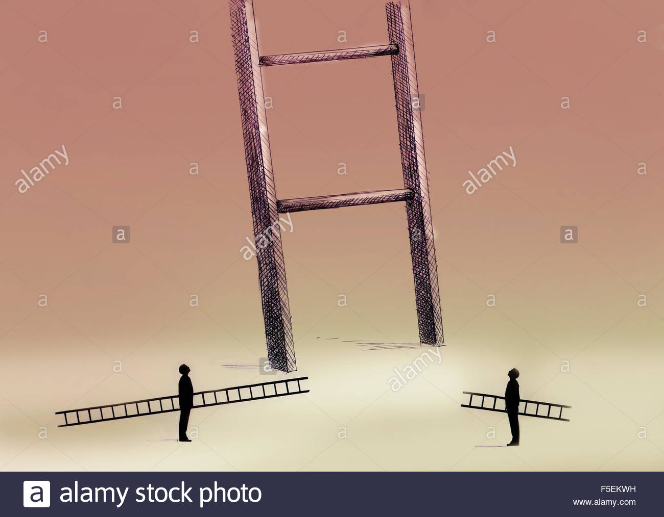 Two men with small ladders looking up at large ladder - Stock Image