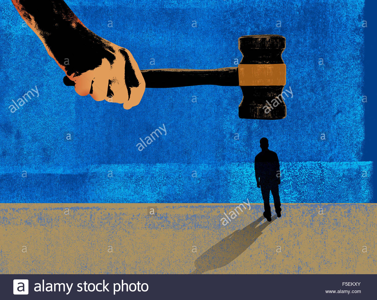 Large hand holding gavel about to hit small man - Stock Image