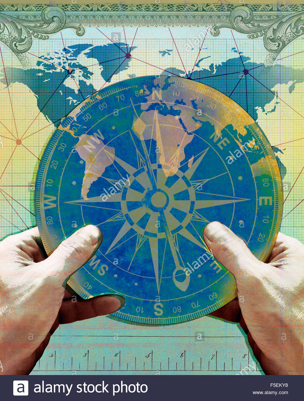Navigation World Map.Hands Holding Navigation Compass Over Chart Of World Map Stock Photo