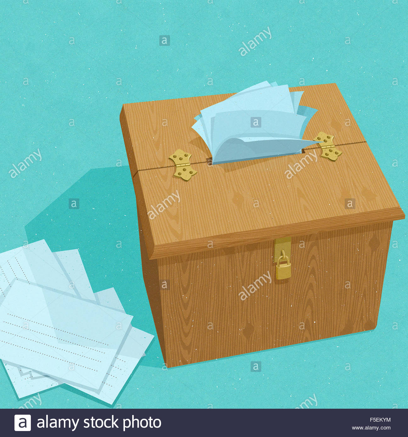 Suggestion box overflowing with ideas - Stock Image