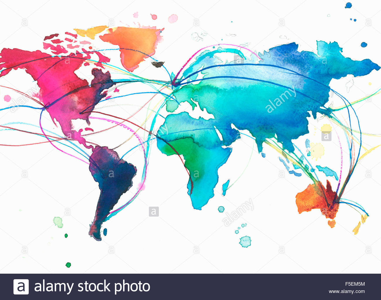 United Kingdom With Connections Across Multicolored World Map Stock