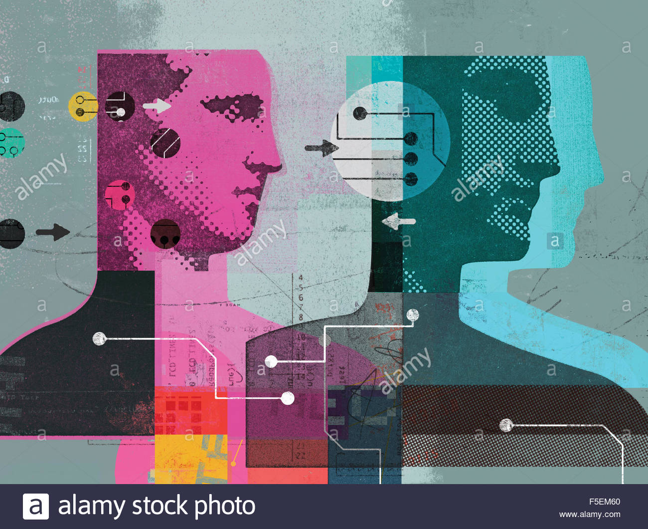 Collage of men and data connected by arrows and circuit boards - Stock Image