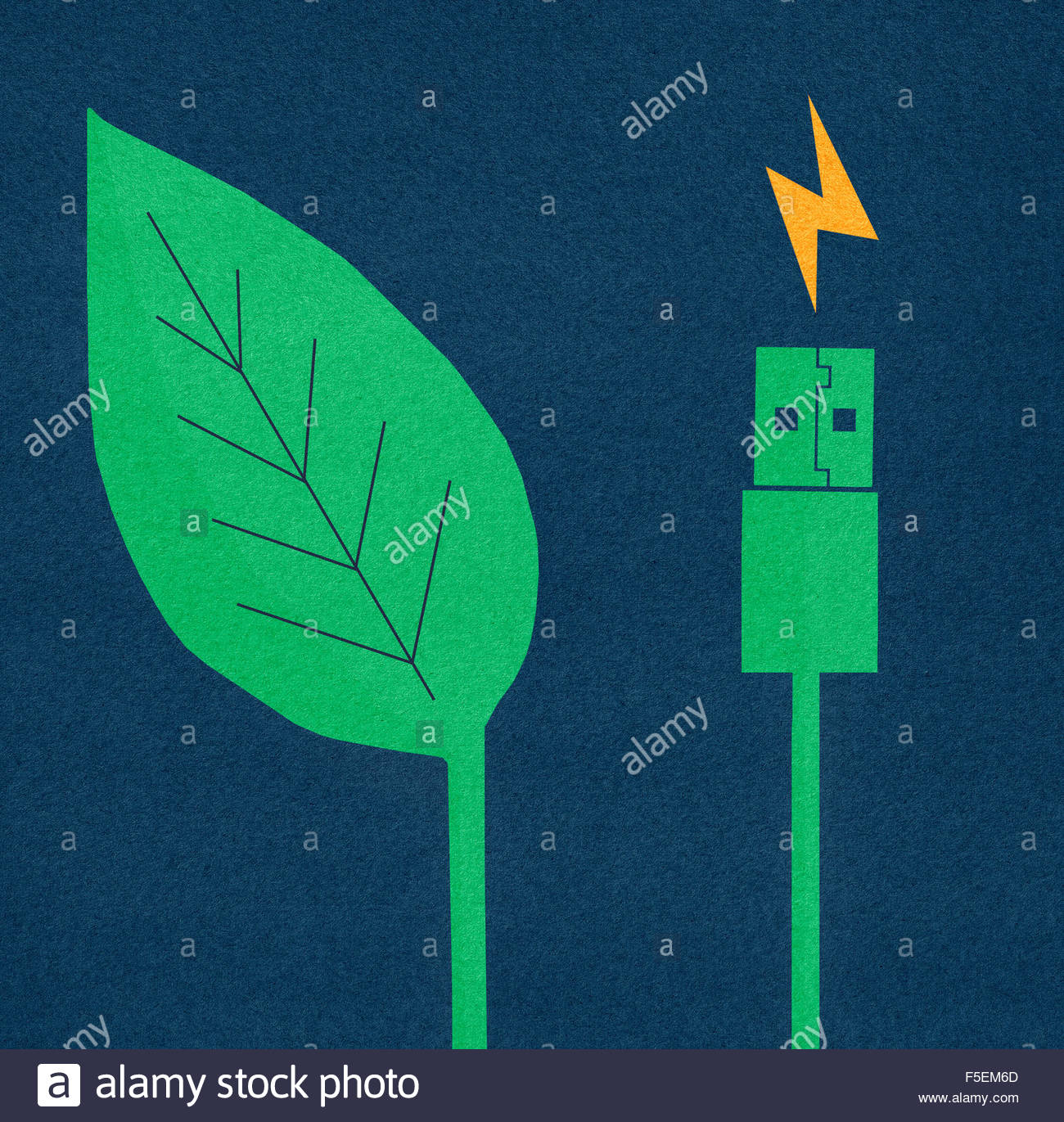 Green leaf next to electric usb cable and plug - Stock Image