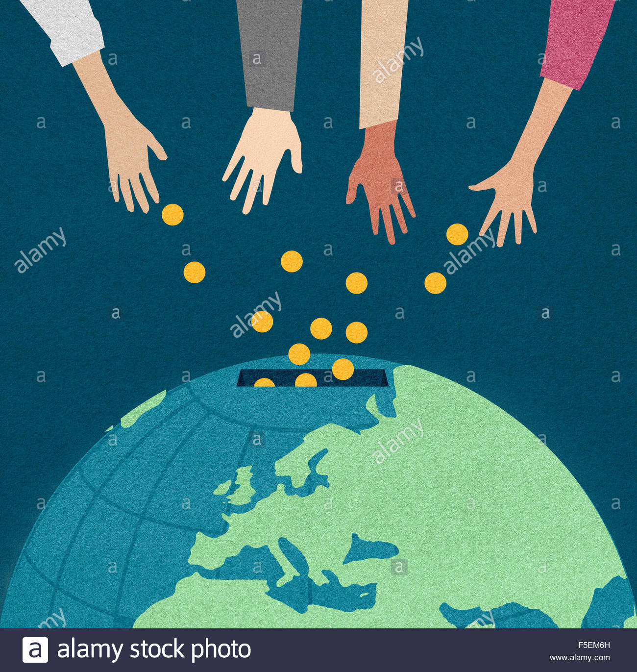 Hands donating money into world money box - Stock Image