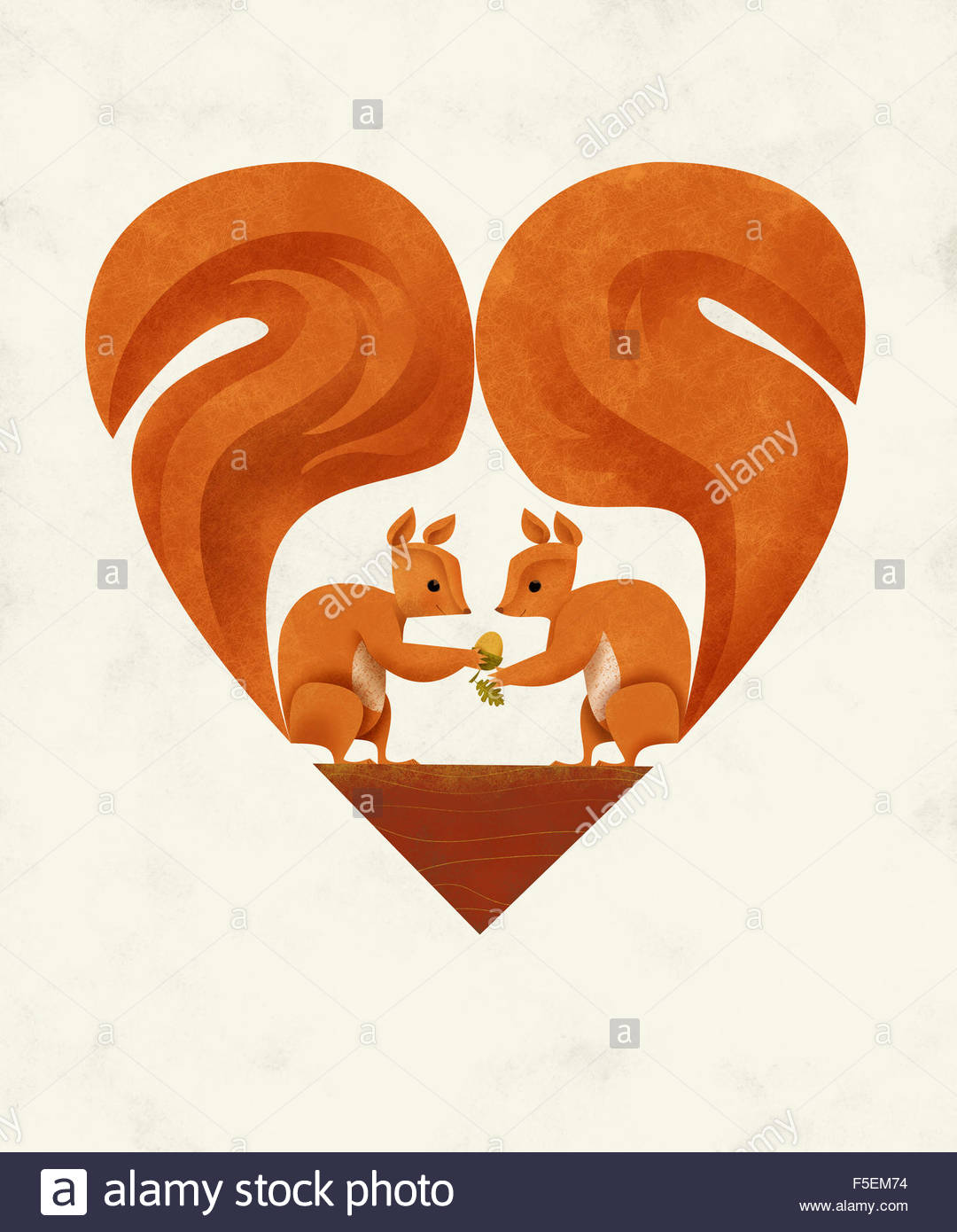 Two squirrels in love with tails forming heart shape - Stock Image