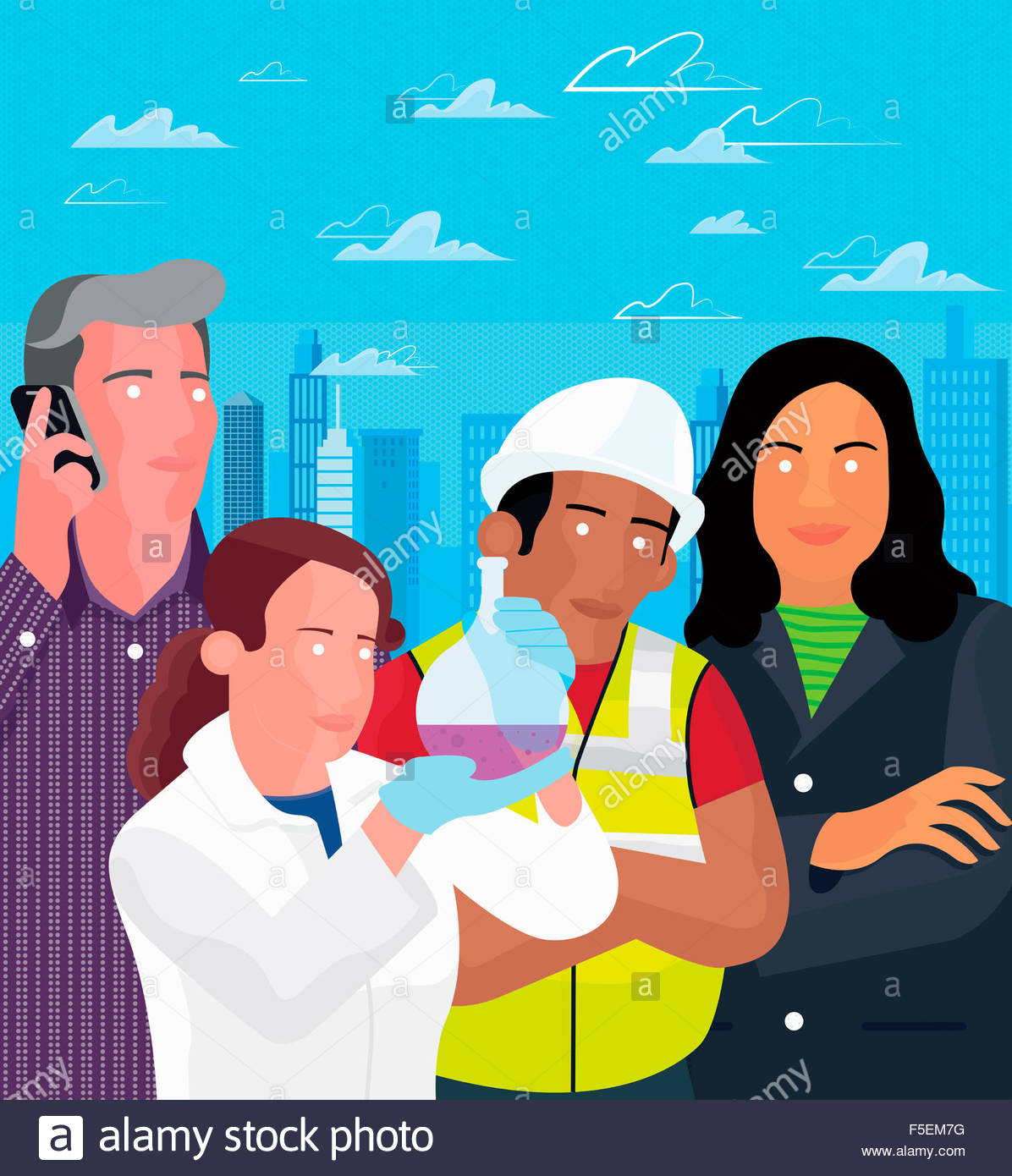 Scientist, construction worker, and business people standing together in front of city skyline - Stock Image