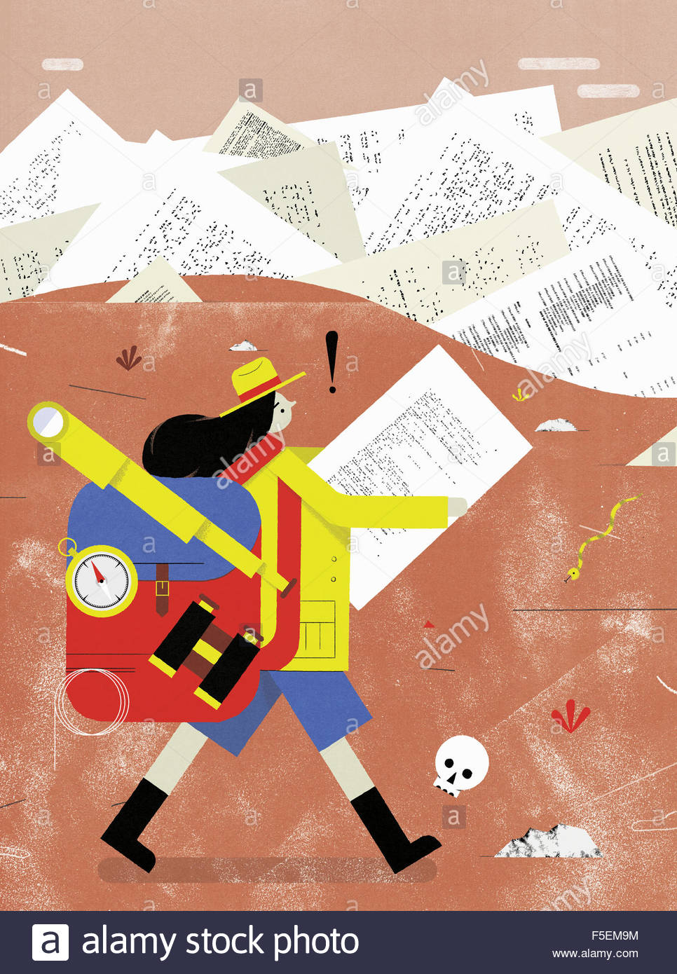 Woman hiker lost in barren landscape of paperwork - Stock Image