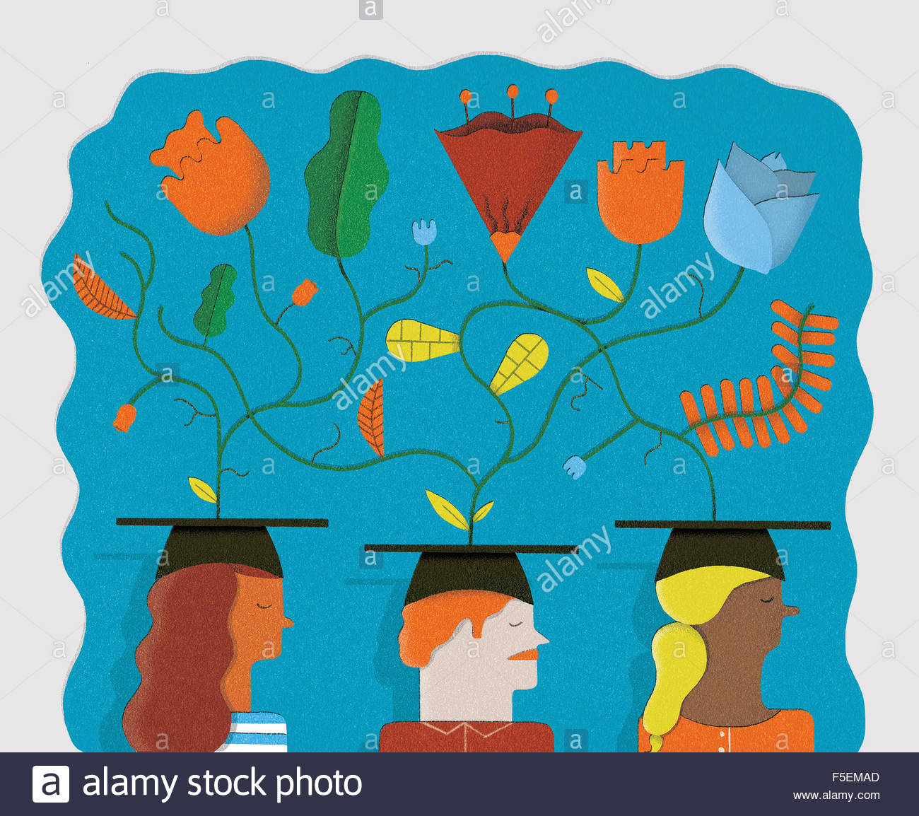 Plants growing from students wearing mortarboards - Stock Image