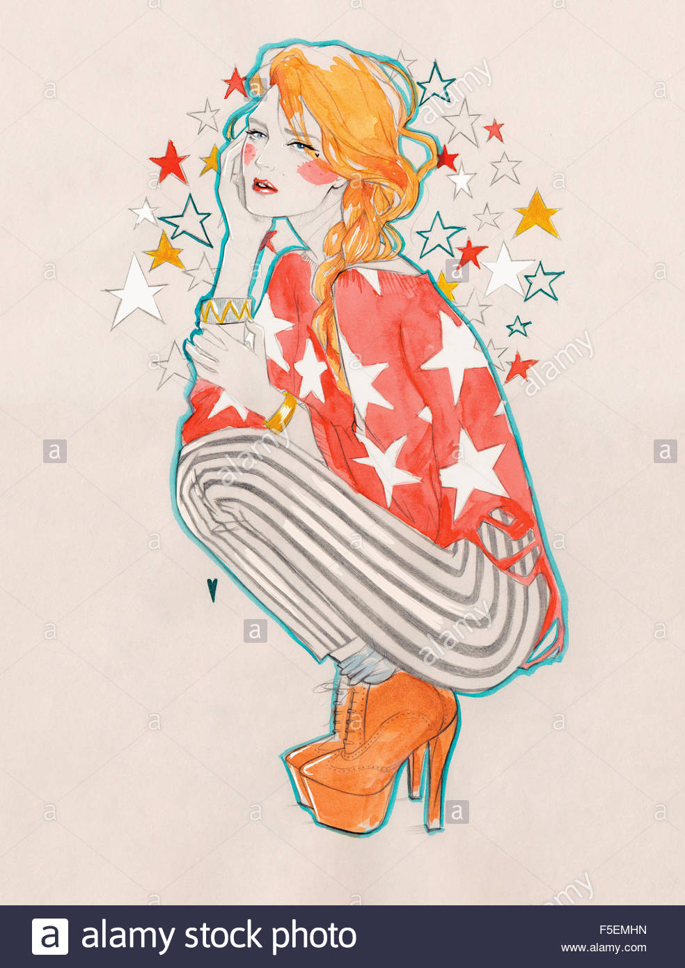 Serious young woman daydreaming with head in stars - Stock Image