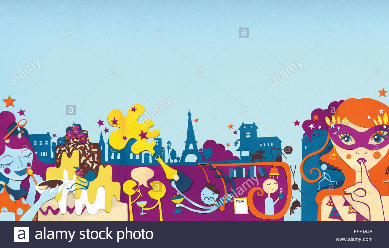 City nightlife with people eating and drinking in Paris - Stock Image