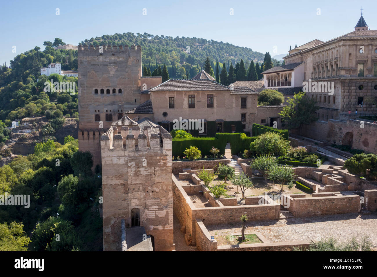 Alhambra palace - Granada, Andalucia, Spain, Europe - Gardens and Palacios Nazaries - Stock Image