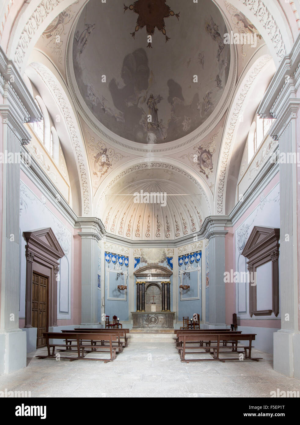 Small Catholic church in a typical rural village, Spain - Stock Image