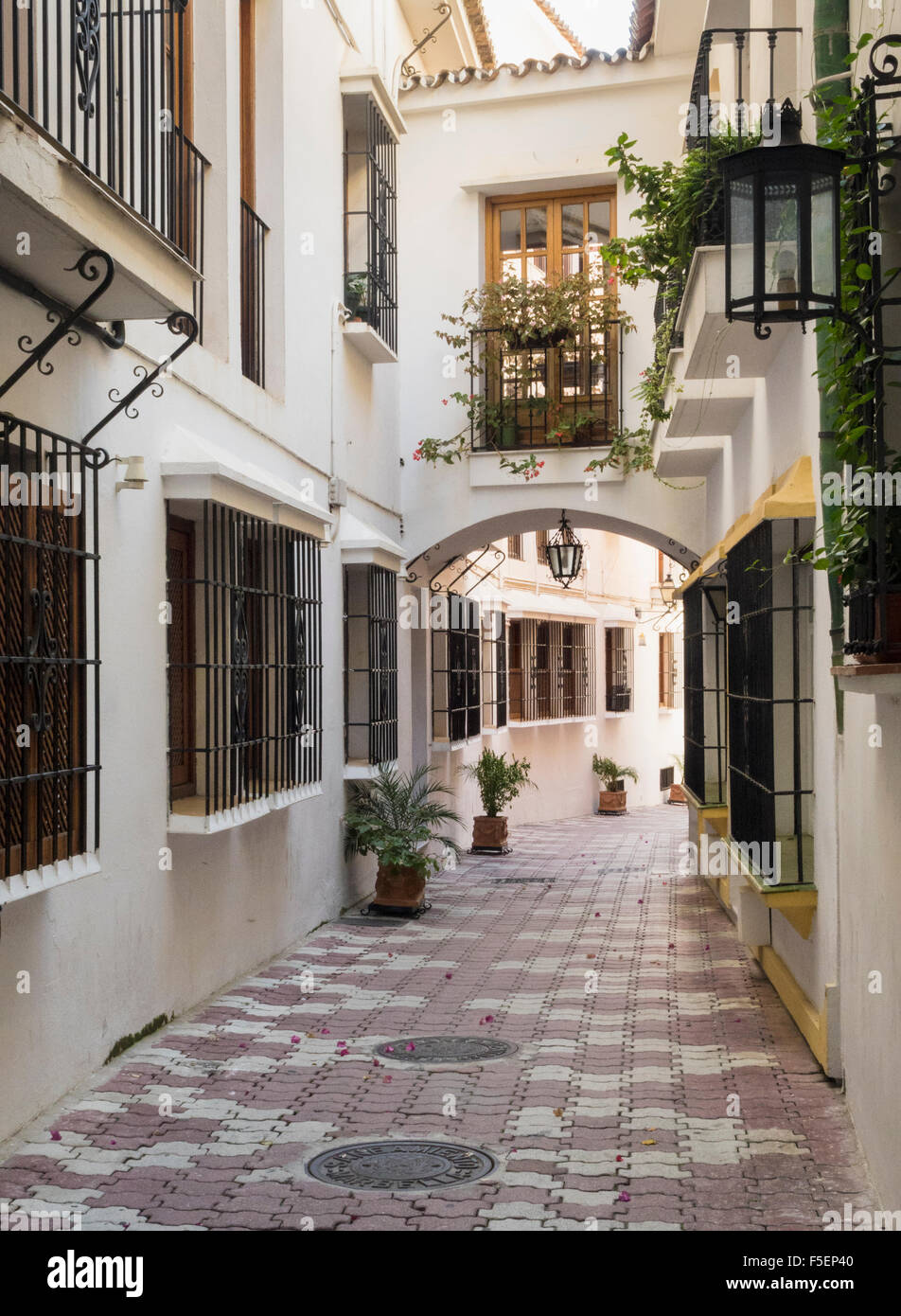 Spain old street in Marbella, Andalucia, Spain - Stock Image