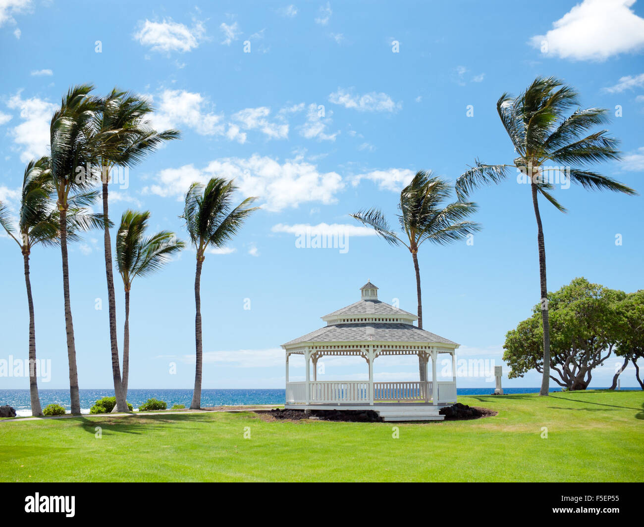 The Turtle Pointe Gazebo, breezy coconut palm trees, and the Pacific Ocean at the Fairmont Orchid on the Kohala - Stock Image